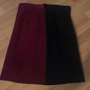 Dresses & Skirts - Two-tone SUEDE maroon front/black back mini skirt